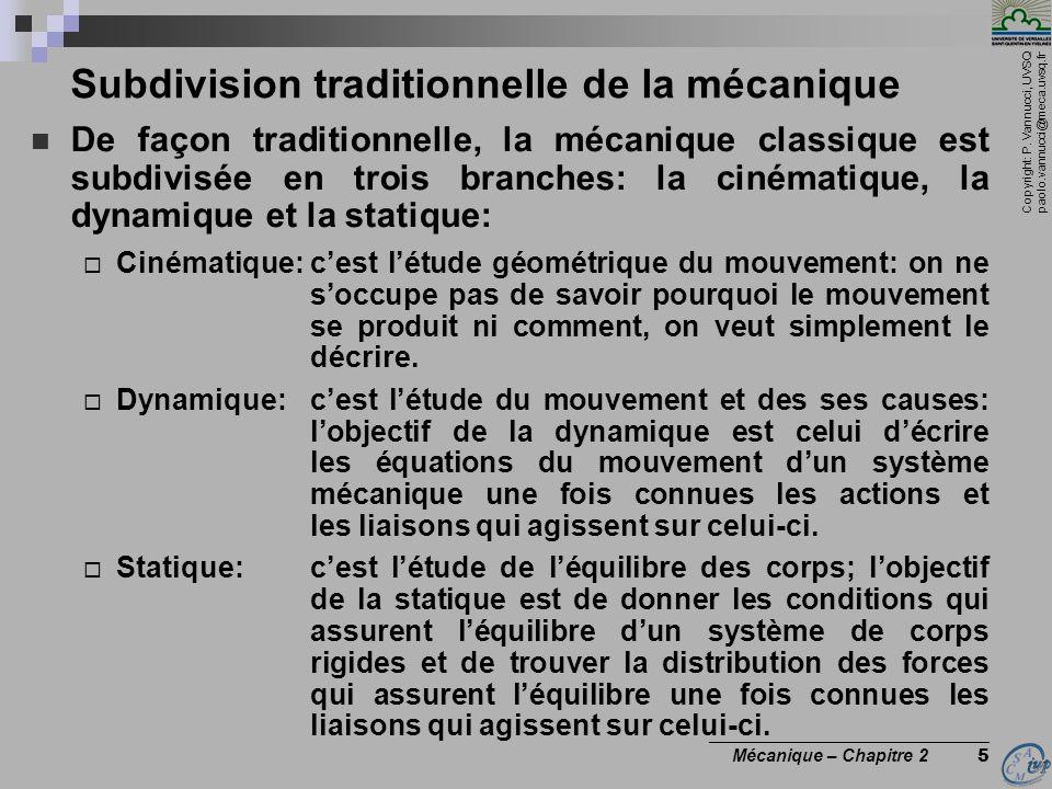 Copyright: P. Vannucci, UVSQ paolo.vannucci@meca.uvsq.fr ________________________________ Mécanique – Chapitre 2 5 Subdivision traditionnelle de la mé