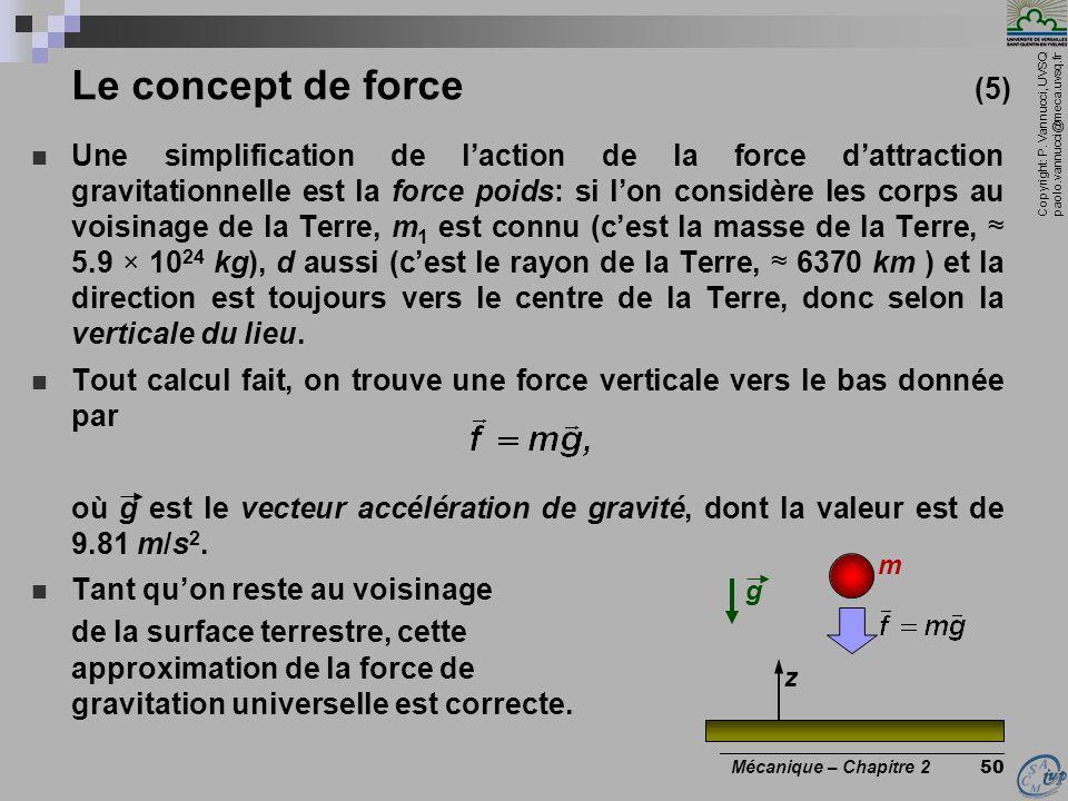 Copyright: P. Vannucci, UVSQ paolo.vannucci@meca.uvsq.fr ________________________________ Mécanique – Chapitre 2 50 Le concept de force (5)  Une simp