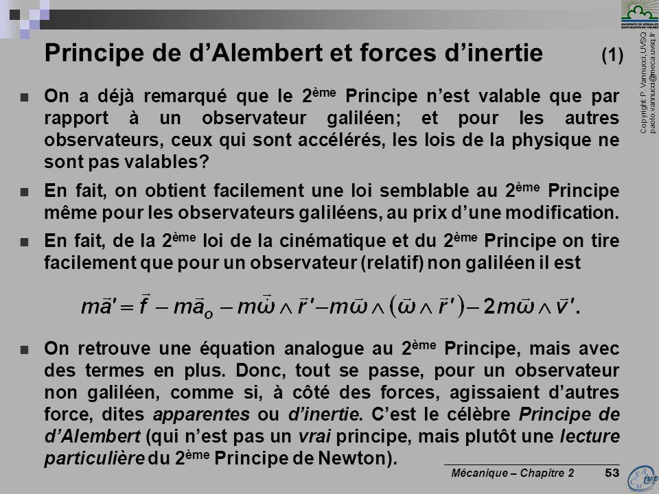 Copyright: P. Vannucci, UVSQ paolo.vannucci@meca.uvsq.fr ________________________________ Mécanique – Chapitre 2 53 Principe de d'Alembert et forces d