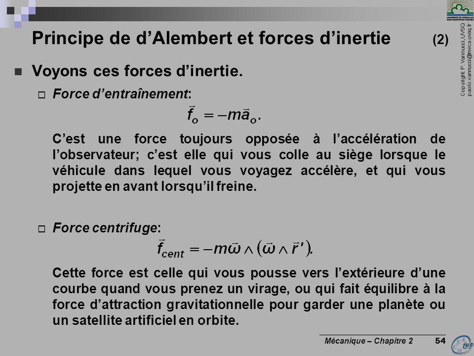 Copyright: P. Vannucci, UVSQ paolo.vannucci@meca.uvsq.fr ________________________________ Mécanique – Chapitre 2 54 Principe de d'Alembert et forces d