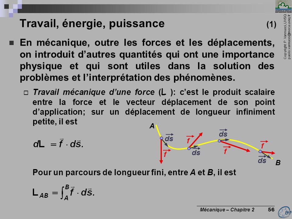 Copyright: P. Vannucci, UVSQ paolo.vannucci@meca.uvsq.fr ________________________________ Mécanique – Chapitre 2 56 Travail, énergie, puissance (1) 