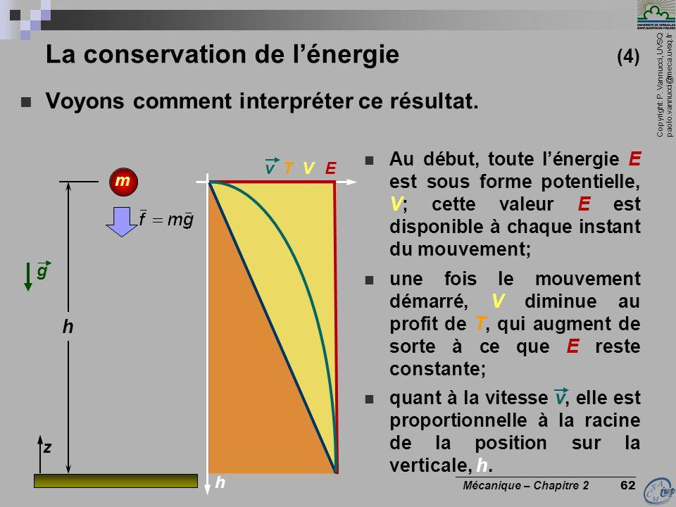 Copyright: P. Vannucci, UVSQ paolo.vannucci@meca.uvsq.fr ________________________________ Mécanique – Chapitre 2 62 La conservation de l'énergie (4) 