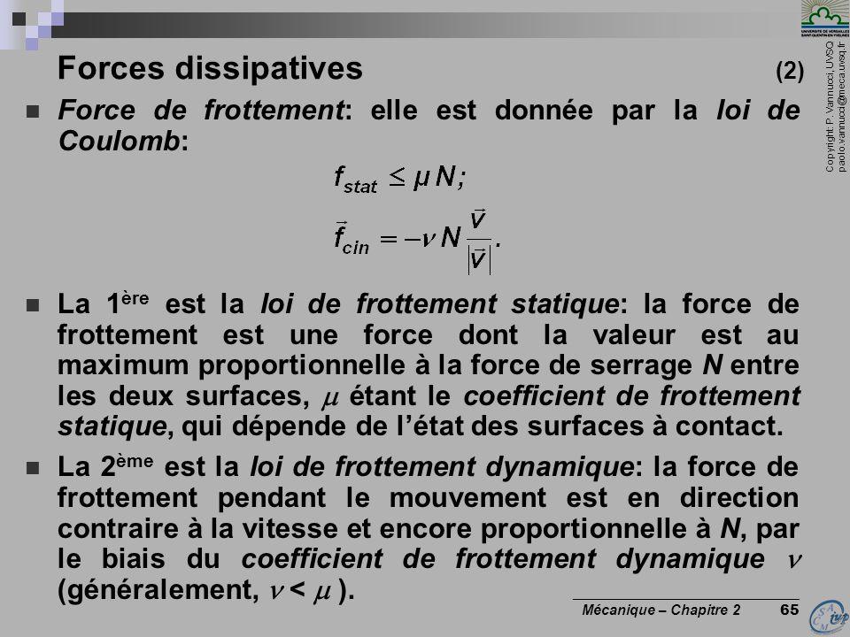Copyright: P. Vannucci, UVSQ paolo.vannucci@meca.uvsq.fr ________________________________ Mécanique – Chapitre 2 65 Forces dissipatives (2)  Force de