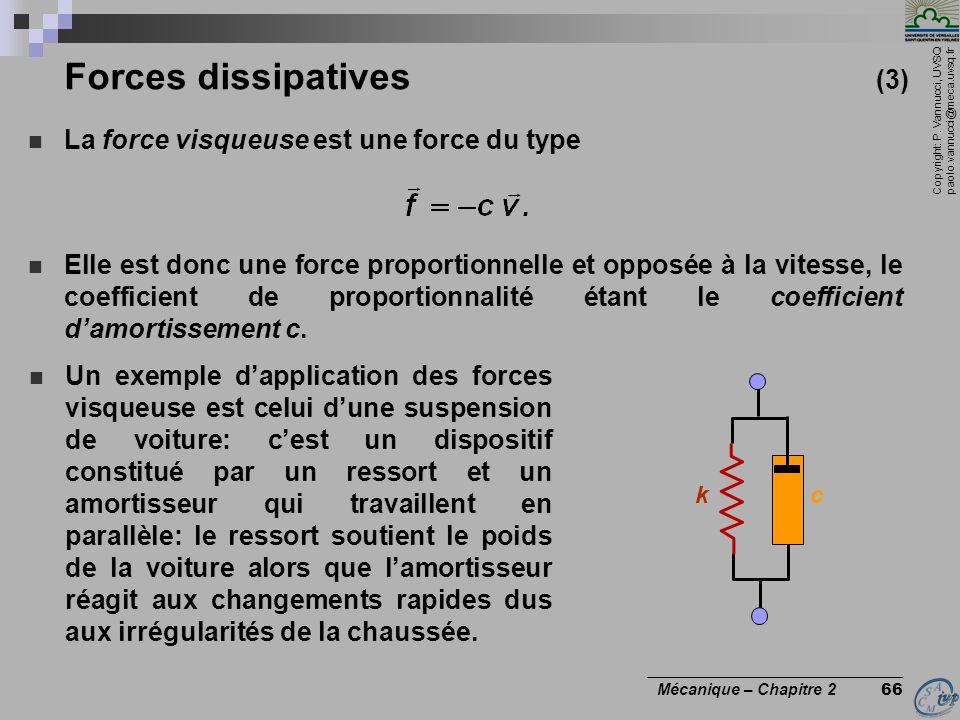 Copyright: P. Vannucci, UVSQ paolo.vannucci@meca.uvsq.fr ________________________________ Mécanique – Chapitre 2 66 Forces dissipatives (3)  La force
