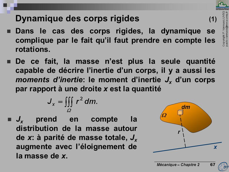 Copyright: P. Vannucci, UVSQ paolo.vannucci@meca.uvsq.fr ________________________________ Mécanique – Chapitre 2 67 Dynamique des corps rigides (1) 