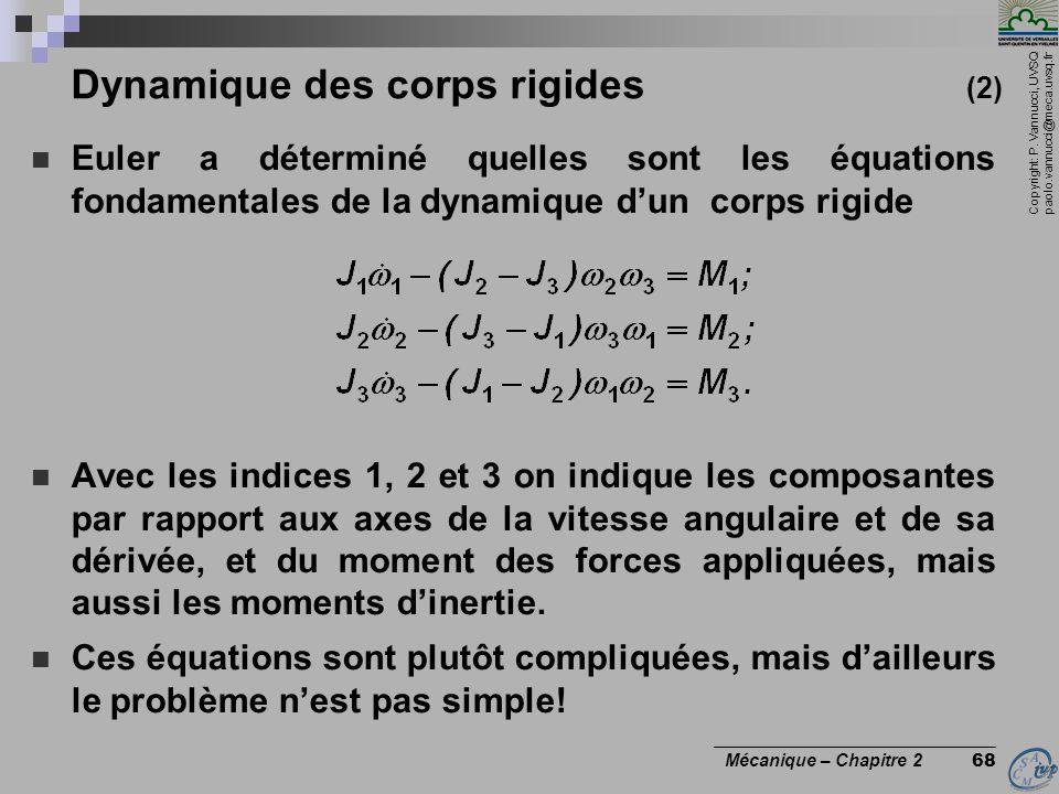 Copyright: P. Vannucci, UVSQ paolo.vannucci@meca.uvsq.fr ________________________________ Mécanique – Chapitre 2 68 Dynamique des corps rigides (2) 