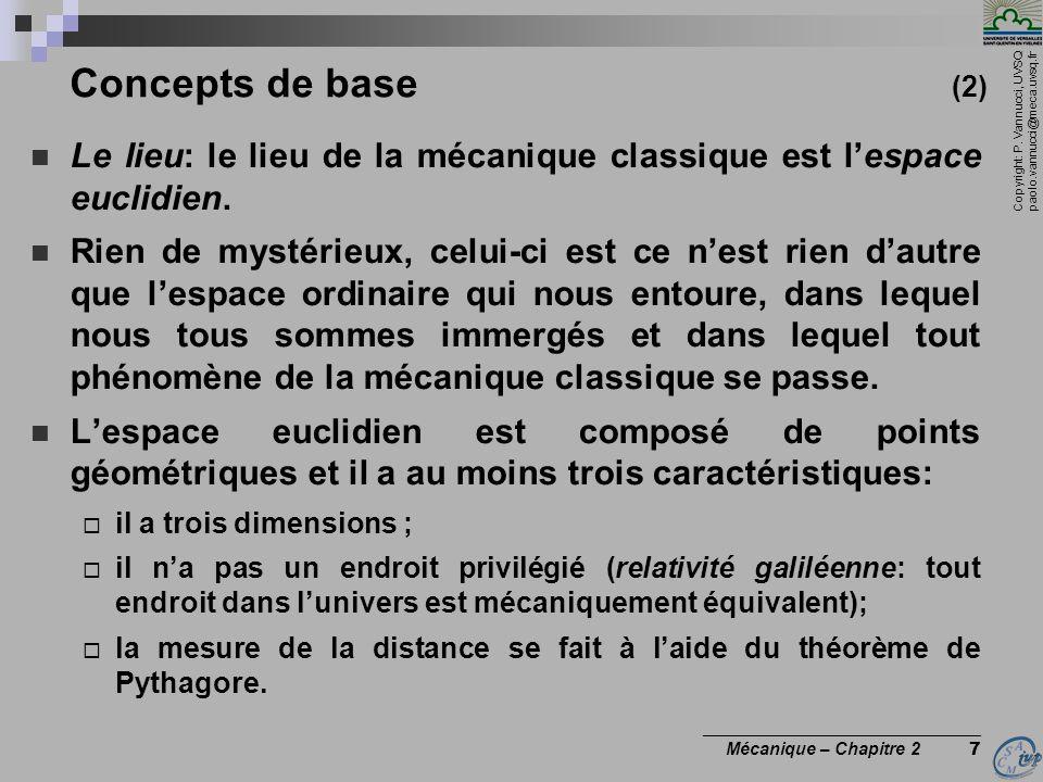 Copyright: P. Vannucci, UVSQ paolo.vannucci@meca.uvsq.fr ________________________________ Mécanique – Chapitre 2 7 Concepts de base (2)  Le lieu: le