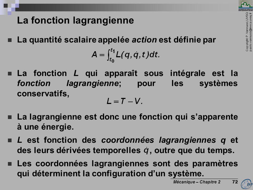 Copyright: P. Vannucci, UVSQ paolo.vannucci@meca.uvsq.fr ________________________________ Mécanique – Chapitre 2 72 La fonction lagrangienne  La quan