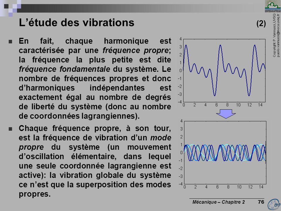 Copyright: P. Vannucci, UVSQ paolo.vannucci@meca.uvsq.fr ________________________________ Mécanique – Chapitre 2 76 L'étude des vibrations (2)  En fa