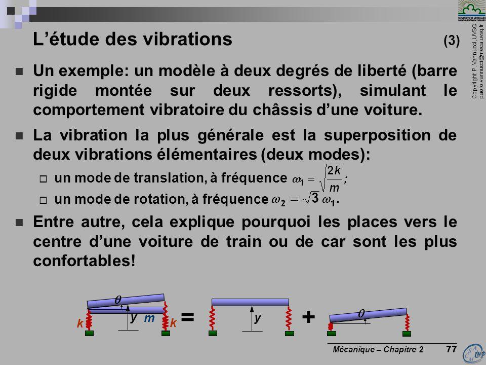 Copyright: P. Vannucci, UVSQ paolo.vannucci@meca.uvsq.fr ________________________________ Mécanique – Chapitre 2 77 L'étude des vibrations (3)  Un ex