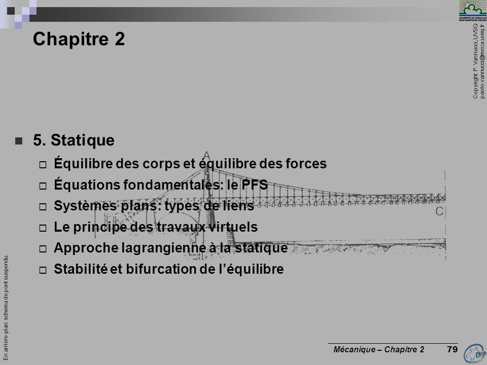 Copyright: P. Vannucci, UVSQ paolo.vannucci@meca.uvsq.fr ________________________________ Mécanique – Chapitre 2 79 Chapitre 2  5. Statique  Équilib