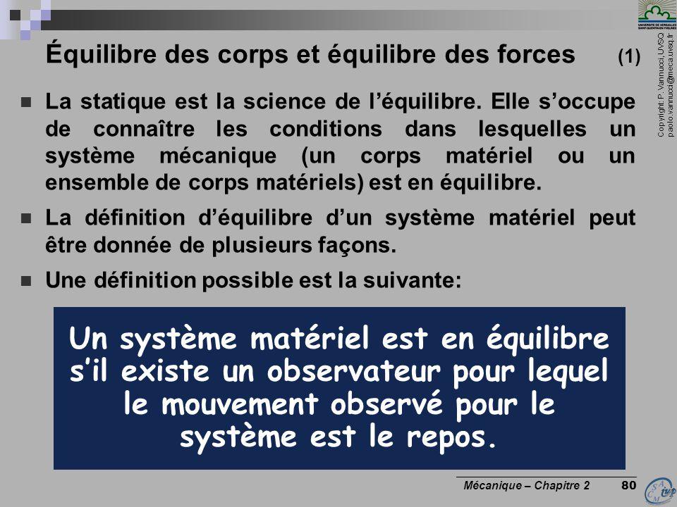 Copyright: P. Vannucci, UVSQ paolo.vannucci@meca.uvsq.fr ________________________________ Mécanique – Chapitre 2 80 Équilibre des corps et équilibre d