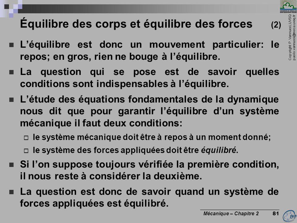 Copyright: P. Vannucci, UVSQ paolo.vannucci@meca.uvsq.fr ________________________________ Mécanique – Chapitre 2 81 Équilibre des corps et équilibre d