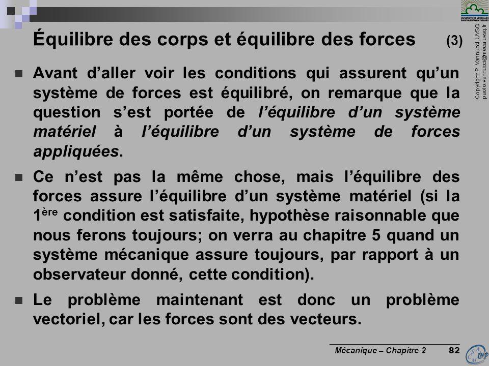 Copyright: P. Vannucci, UVSQ paolo.vannucci@meca.uvsq.fr ________________________________ Mécanique – Chapitre 2 82 Équilibre des corps et équilibre d