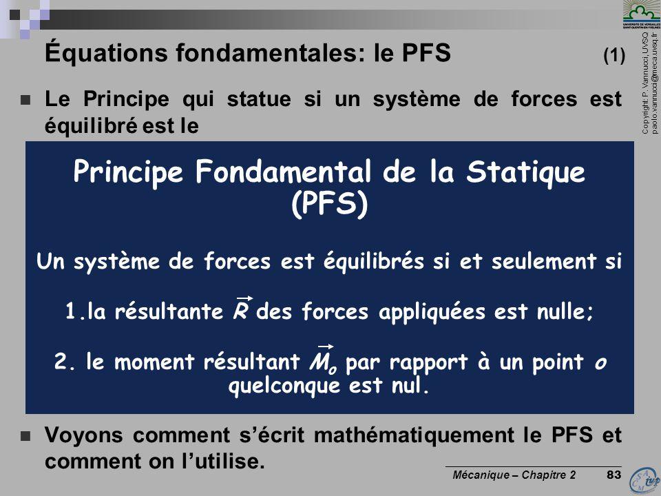 Copyright: P. Vannucci, UVSQ paolo.vannucci@meca.uvsq.fr ________________________________ Mécanique – Chapitre 2 83 Équations fondamentales: le PFS (1