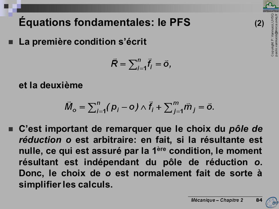 Copyright: P. Vannucci, UVSQ paolo.vannucci@meca.uvsq.fr ________________________________ Mécanique – Chapitre 2 84 Équations fondamentales: le PFS (2