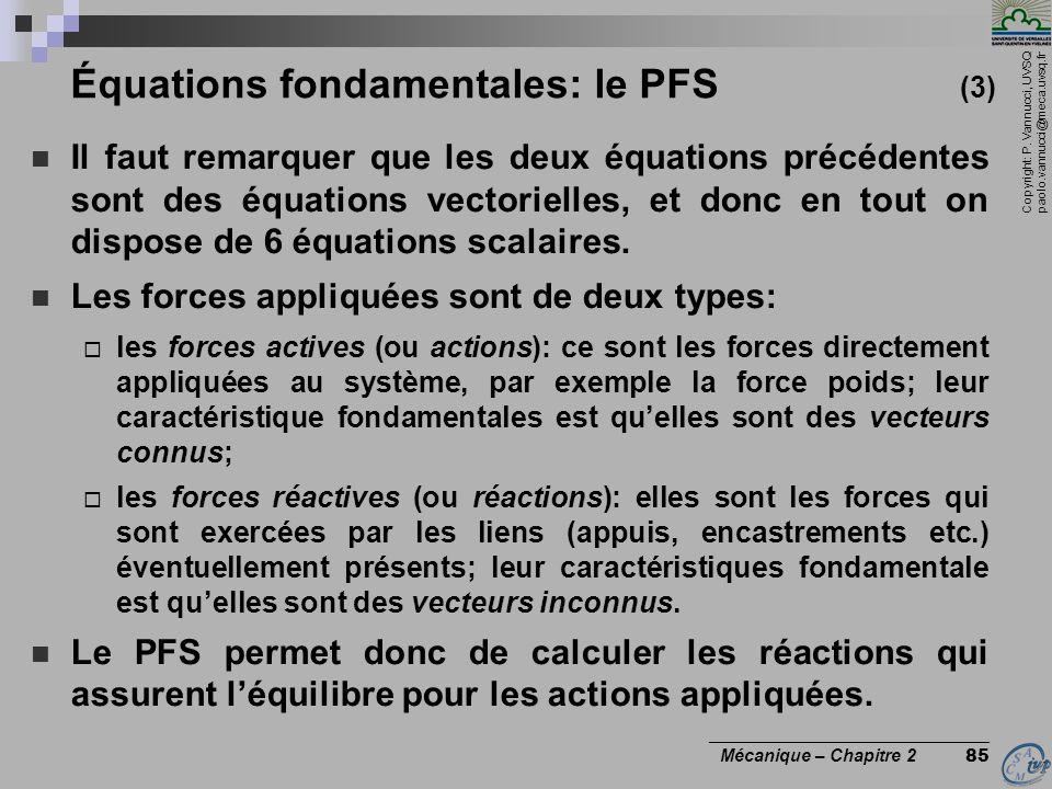 Copyright: P. Vannucci, UVSQ paolo.vannucci@meca.uvsq.fr ________________________________ Mécanique – Chapitre 2 85 Équations fondamentales: le PFS (3