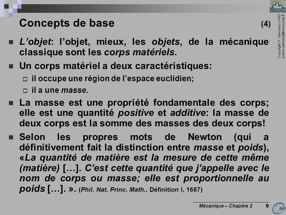 Copyright: P. Vannucci, UVSQ paolo.vannucci@meca.uvsq.fr ________________________________ Mécanique – Chapitre 2 9  L'objet: l'objet, mieux, les obje