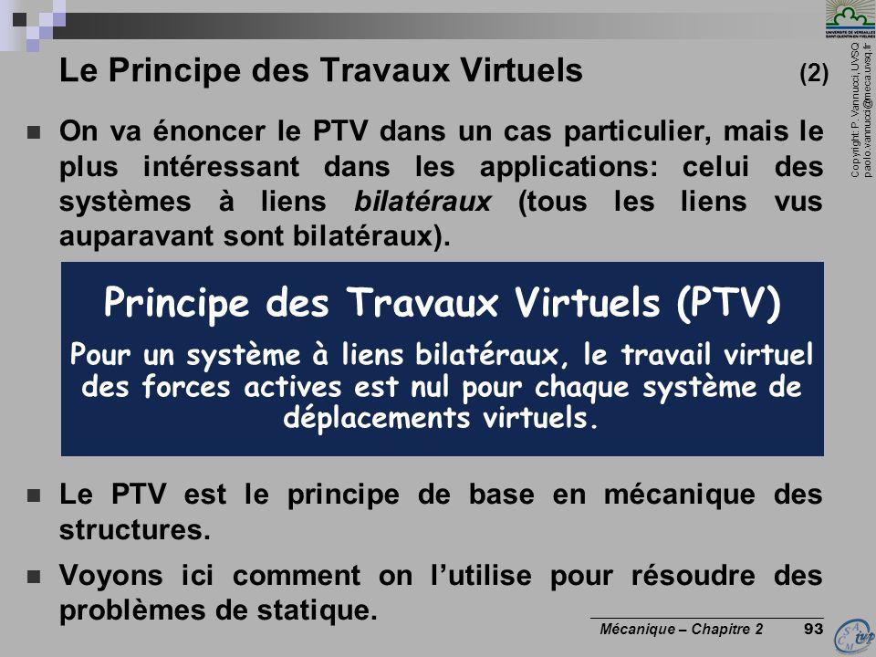 Copyright: P. Vannucci, UVSQ paolo.vannucci@meca.uvsq.fr ________________________________ Mécanique – Chapitre 2 93 Le Principe des Travaux Virtuels (