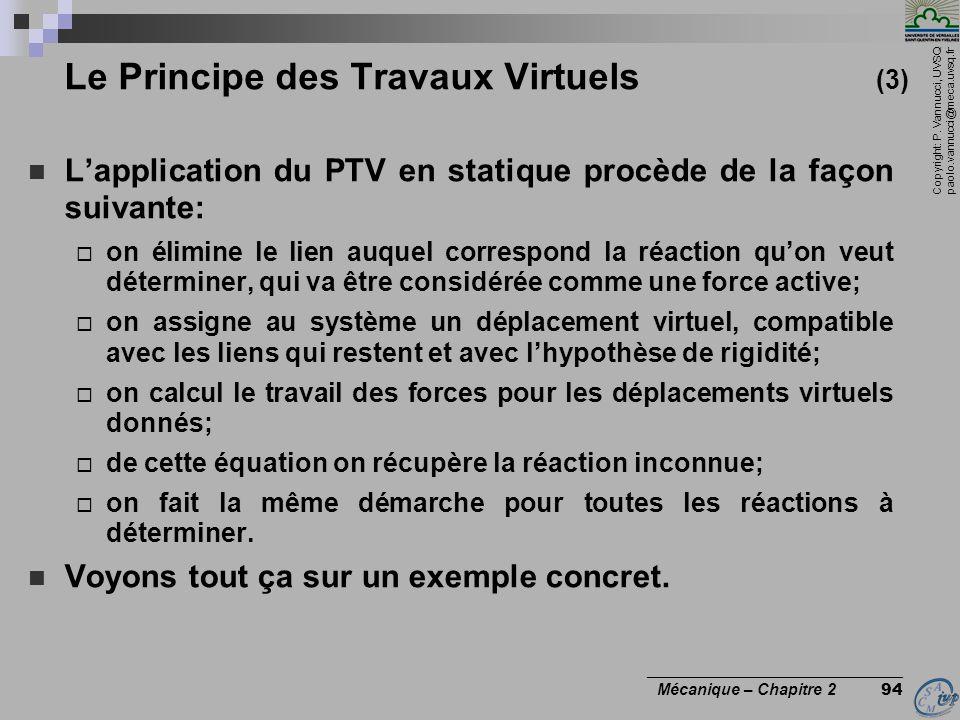 Copyright: P. Vannucci, UVSQ paolo.vannucci@meca.uvsq.fr ________________________________ Mécanique – Chapitre 2 94 Le Principe des Travaux Virtuels (