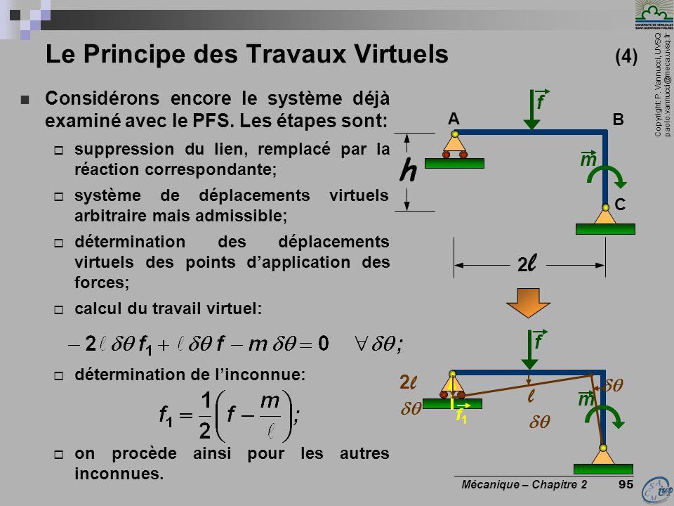 Copyright: P. Vannucci, UVSQ paolo.vannucci@meca.uvsq.fr ________________________________ Mécanique – Chapitre 2 95 Le Principe des Travaux Virtuels (