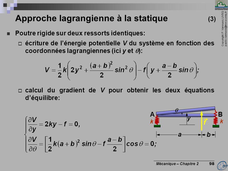 Copyright: P. Vannucci, UVSQ paolo.vannucci@meca.uvsq.fr ________________________________ Mécanique – Chapitre 2 98 Approche lagrangienne à la statiqu