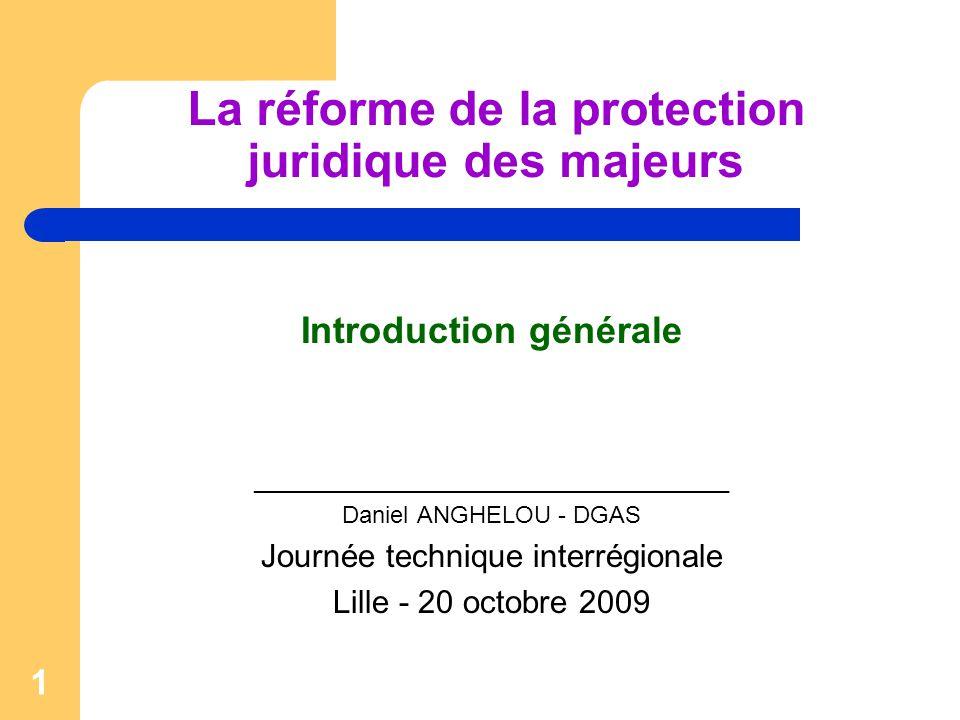 1 La réforme de la protection juridique des majeurs Introduction générale ____________________________________ Daniel ANGHELOU - DGAS Journée techniqu