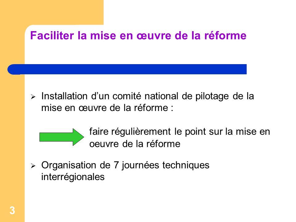 3 Faciliter la mise en œuvre de la réforme  Installation d'un comité national de pilotage de la mise en œuvre de la réforme : faire régulièrement le