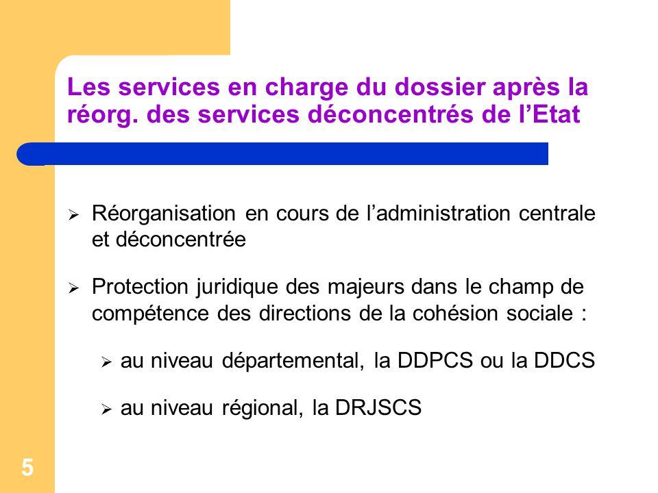 5 Les services en charge du dossier après la réorg. des services déconcentrés de l'Etat  Réorganisation en cours de l'administration centrale et déco