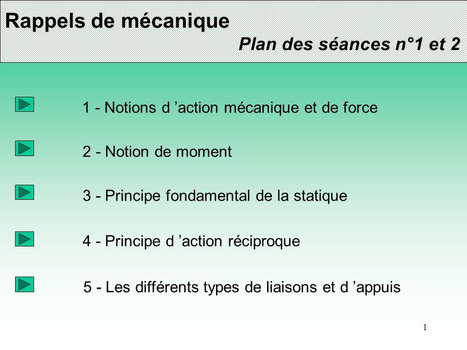 1 Rappels de mécanique Plan des séances n°1 et 2 1 - Notions d 'action mécanique et de force 2 - Notion de moment 3 - Principe fondamental de la stati