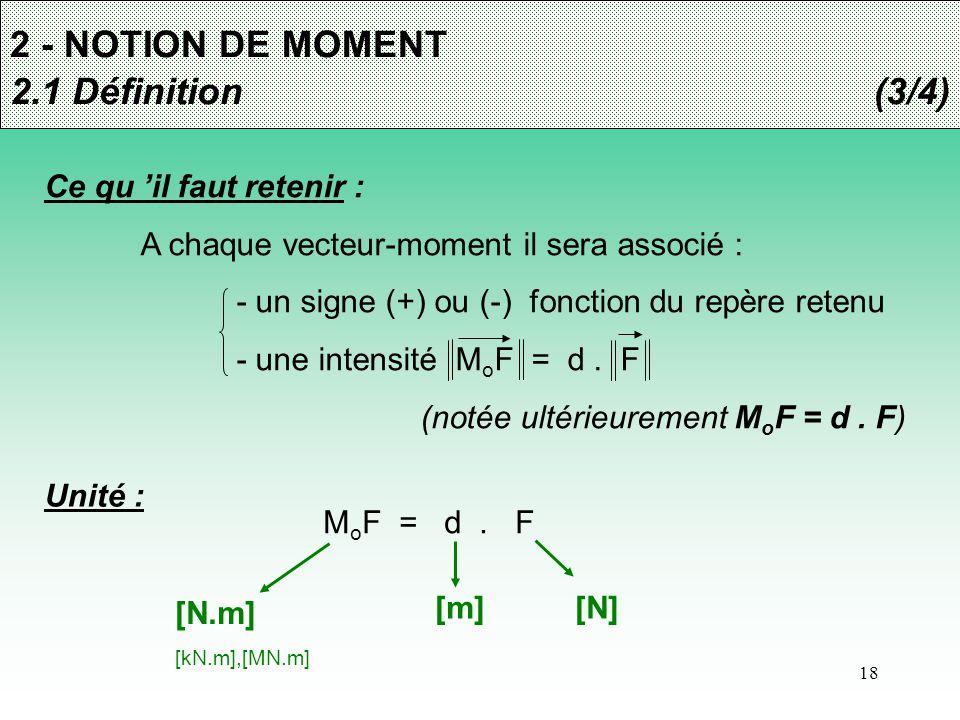18 2 - NOTION DE MOMENT 2.1 Définition(3/4) Ce qu 'il faut retenir : A chaque vecteur-moment il sera associé : - un signe (+) ou (-) fonction du repèr