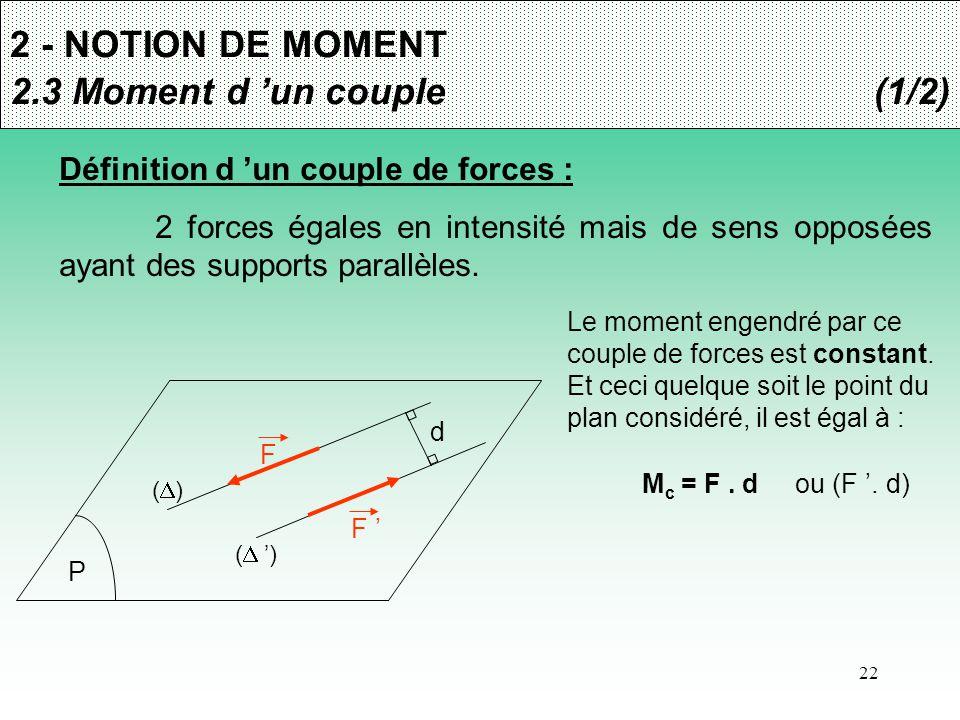 22 2 - NOTION DE MOMENT 2.3 Moment d 'un couple(1/2) Définition d 'un couple de forces : 2 forces égales en intensité mais de sens opposées ayant des