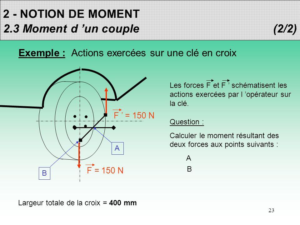 23 2 - NOTION DE MOMENT 2.3 Moment d 'un couple(2/2) Exemple : Actions exercées sur une clé en croix F = 150 N F ' = 150 N Les forces F et F ' schémat