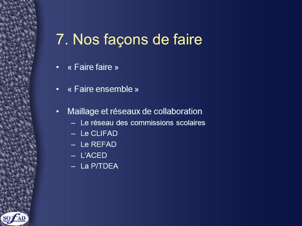 7. Nos façons de faire •« Faire faire » •« Faire ensemble » •Maillage et réseaux de collaboration –Le réseau des commissions scolaires –Le CLIFAD –Le