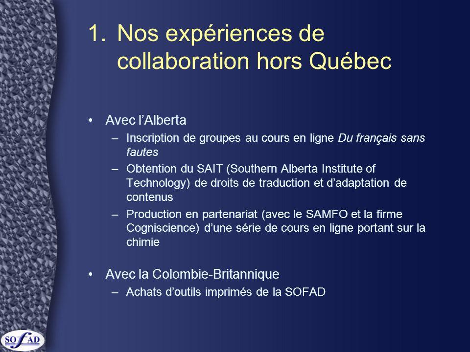 1.Nos expériences … •Avec l'Ontario –Coproduction des séries télévisées Octo-Puce et Octo-Giciel •Avec la Tunisie –Vente de droits d'utilisation, de traduction et d'adaptation d'une vingtaine de cours de la SOFAD –Formation sur place de leurs concepteurs