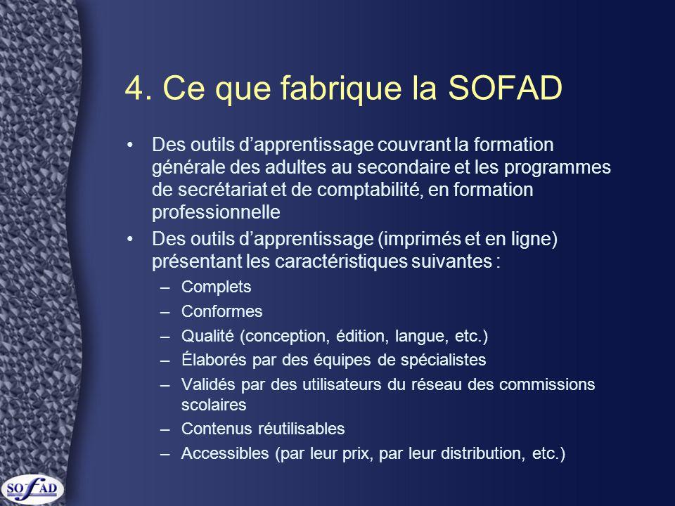 4. Ce que fabrique la SOFAD •Des outils d'apprentissage couvrant la formation générale des adultes au secondaire et les programmes de secrétariat et d
