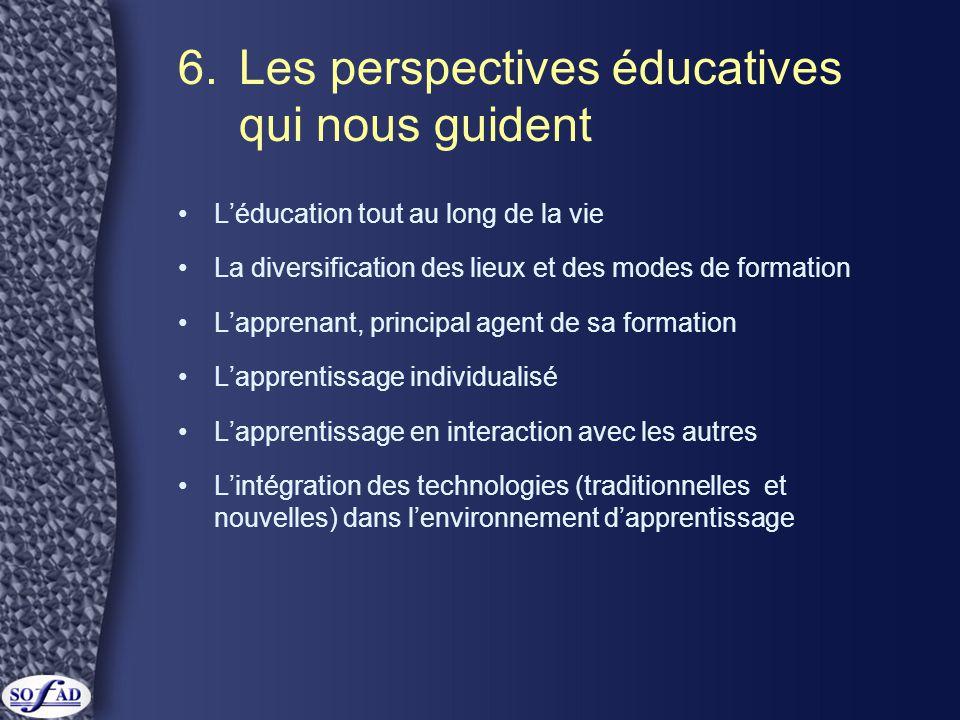 6.Les perspectives éducatives qui nous guident •L'éducation tout au long de la vie •La diversification des lieux et des modes de formation •L'apprenan
