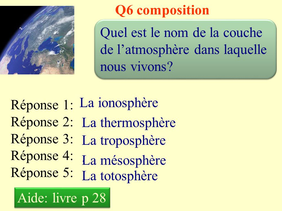Q5 composition Quelle est la proportion de diazote dans l'air .