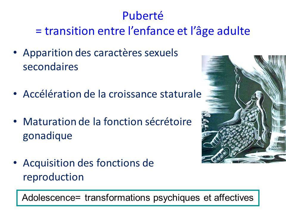 Puberté = transition entre l'enfance et l'âge adulte • Apparition des caractères sexuels secondaires • Accélération de la croissance staturale • Matur