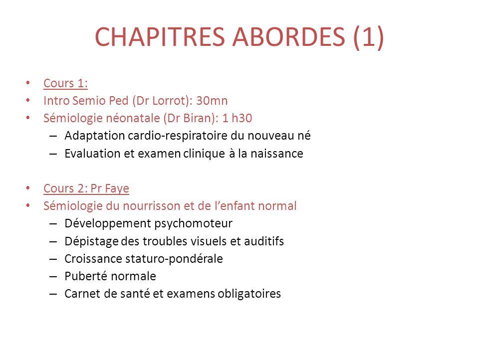CHAPITRES ABORDES (1) • Cours 1: • Intro Semio Ped (Dr Lorrot): 30mn • Sémiologie néonatale (Dr Biran): 1 h30 – Adaptation cardio-respiratoire du nouv