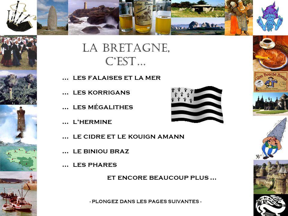 La Bretagne, c'est… …les falaises et la mer …les korrigans …les mégalithes …l'hermine …le cidre et le kouign amann …le biniou braz …les phares et encore beaucoup plus … - PLONGEZ DANS LES PAGES SUIVANTES -