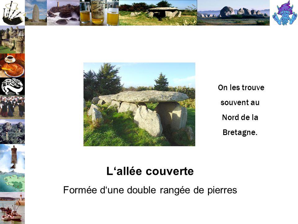 L'allée couverte Formée d'une double rangée de pierres On les trouve souvent au Nord de la Bretagne.