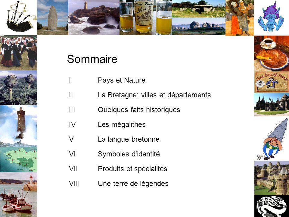 Pays et Nature • La Bretagne est une région qui se trouve dans le nord-ouest de la France • Sa capitale est Rennes • Les Celtes lui donnait le nom d'Armor (pays de la mer) • En 1532, la Bretagne (un duché à l'époque) a été unie à la France