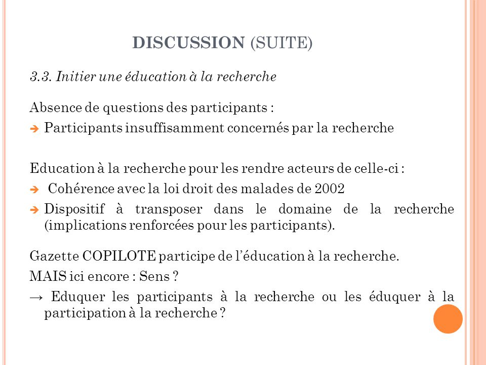 DISCUSSION (SUITE) 3.3.