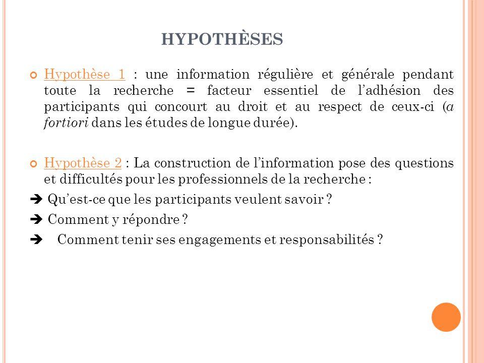HYPOTHÈSES Hypothèse 1 : une information régulière et générale pendant toute la recherche = facteur essentiel de l'adhésion des participants qui concourt au droit et au respect de ceux-ci ( a fortiori dans les études de longue durée).