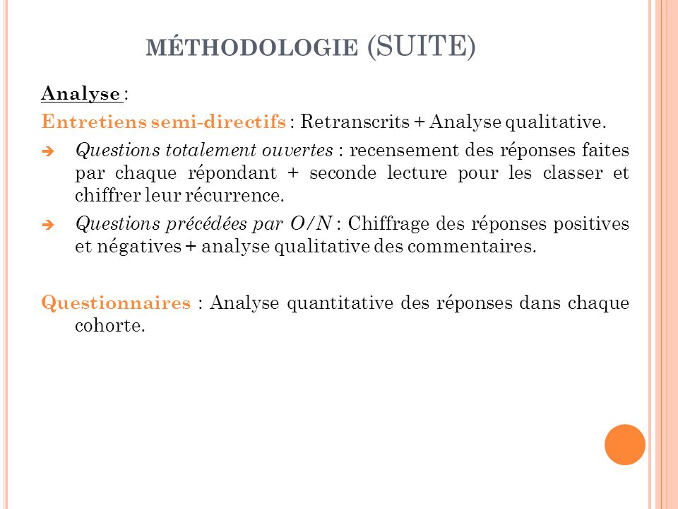 MÉTHODOLOGIE (SUITE) Analyse : Entretiens semi-directifs : Retranscrits + Analyse qualitative.