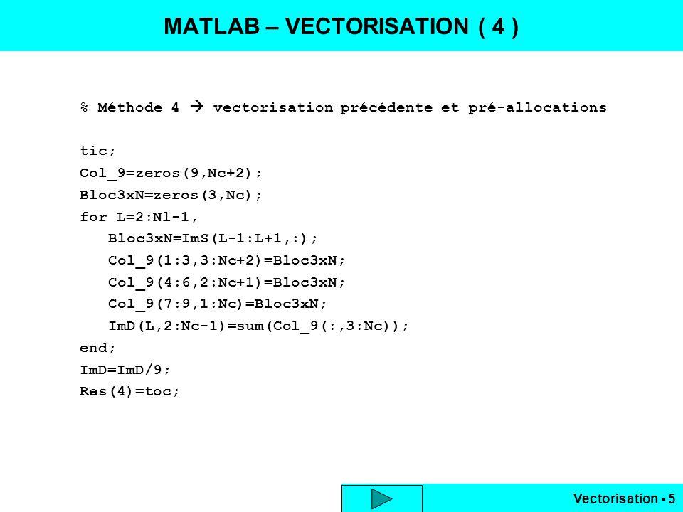 Vectorisation - 5 % Méthode 4  vectorisation précédente et pré-allocations tic; Col_9=zeros(9,Nc+2); Bloc3xN=zeros(3,Nc); for L=2:Nl-1, Bloc3xN=ImS(L-1:L+1,:); Col_9(1:3,3:Nc+2)=Bloc3xN; Col_9(4:6,2:Nc+1)=Bloc3xN; Col_9(7:9,1:Nc)=Bloc3xN; ImD(L,2:Nc-1)=sum(Col_9(:,3:Nc)); end; ImD=ImD/9; Res(4)=toc; MATLAB – VECTORISATION ( 4 )