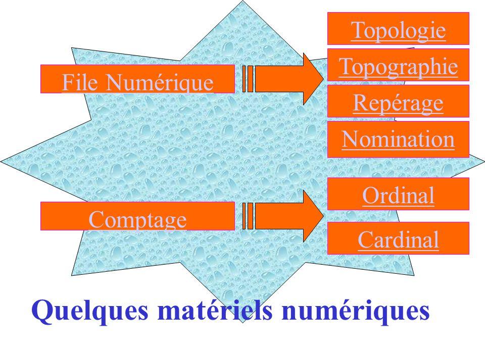 Général File Numérique Quelques matériels numériques Comptage Topologie Topographie Repérage Nomination Ordinal Cardinal