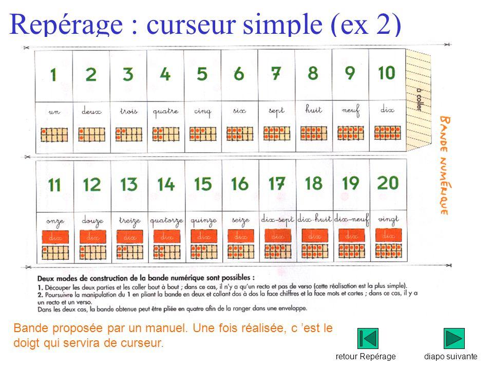 retour Repérage Repérage : curseur simple (ex 2) diapo suivante Bande proposée par un manuel.