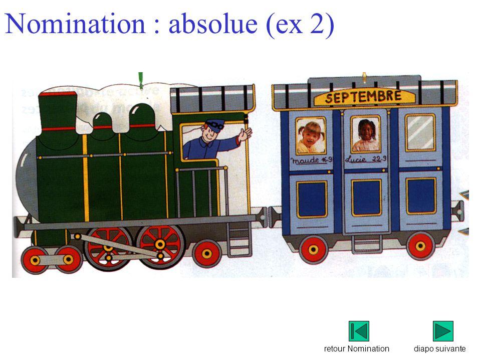 retour Nomination Nomination : absolue (ex 2) diapo suivante